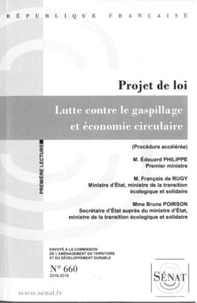 Projet de loi lutte contre le gaspillage et économie Circulaire